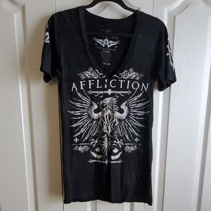 Affliction black and white GSP shirt size Large